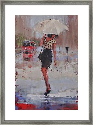Rainy Day Blues Framed Print by Laura Lee Zanghetti