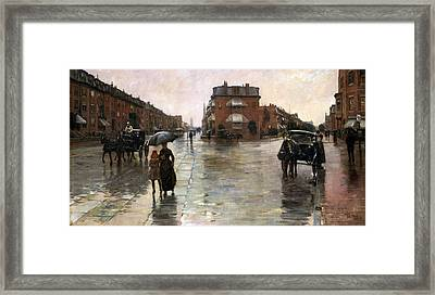 Framed Print featuring the painting Rainy Day, Boston - 1885  by Frederick Childe Hassam