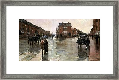 Rainy Day, Boston Framed Print