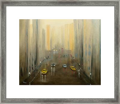 Rainy Day Cityscape Framed Print