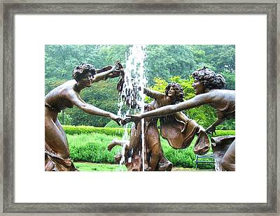 Rainy Day Dance Central Park Nyc Framed Print by Maria Scarfone