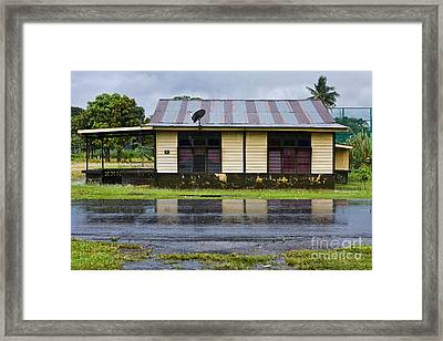 rainy day in a Malaysian kampung Framed Print