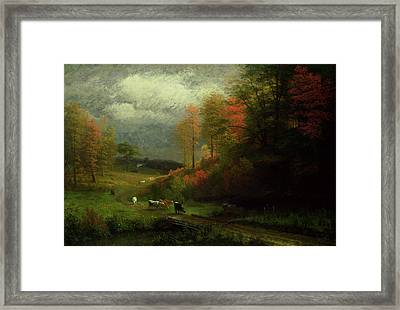 Rainy Day In Autumn Framed Print by Albert Bierstadt