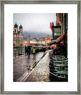 Framed Print featuring the photograph Rainy Day In Lucerne by Jim Hill