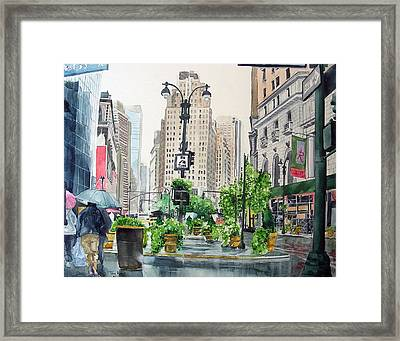 Framed Print featuring the painting Rainy Day In New York by Tom Riggs
