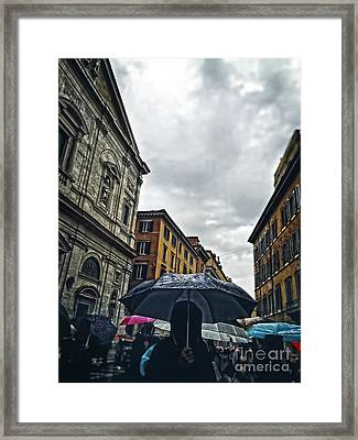 rainy day in Rome Framed Print