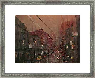 Rainy Day In The City Framed Print by Tom Shropshire