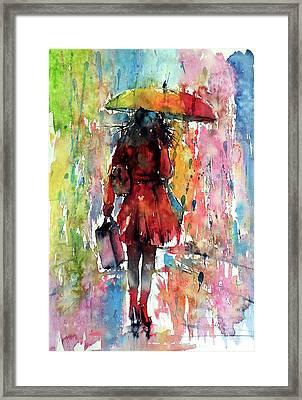 Framed Print featuring the painting Rainy Day by Kovacs Anna Brigitta