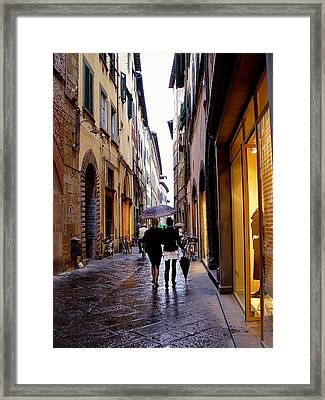 Framed Print featuring the photograph Rainy Day Shopping In Italy 2 by Nancy Bradley