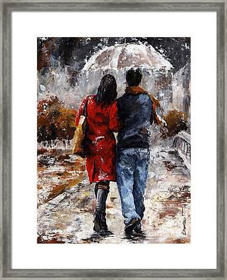 Rainy Day - Walking In The Rain Framed Print