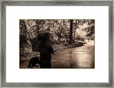 Rainy Day - Woman And Dog Framed Print