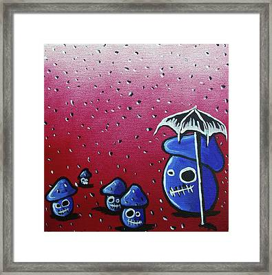 Rainy Day Zombie Mushrooms Framed Print by Jera Sky