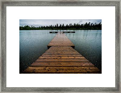 Framed Print featuring the photograph Rainy Dock by Darcy Michaelchuk