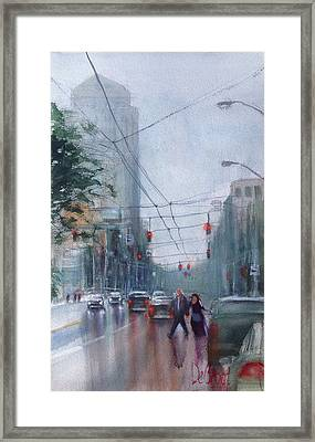 Rainy Downtown Dayton Day Framed Print