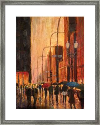Rainy Evening Chicago Framed Print