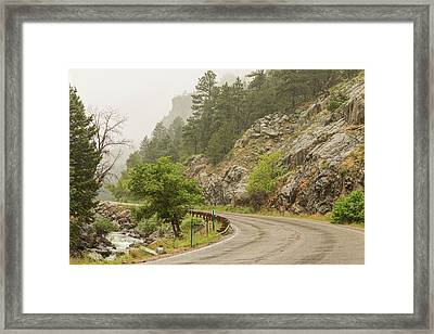 Framed Print featuring the photograph Rainy Misty Boulder Creek And Boulder Canyon Drive by James BO Insogna