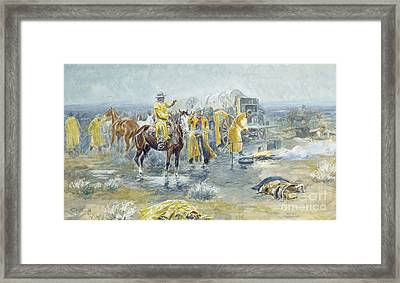 Rainy Morning Framed Print by Charles Marion Russell