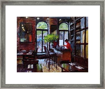 Rainy Morning In The Restaurant Framed Print by Peter Salwen