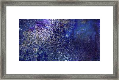 Rainy Night - Blue Contemporary Abstract Art Framed Print by Modern Art Prints