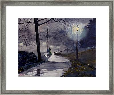 Rainy Night In Central Park Framed Print