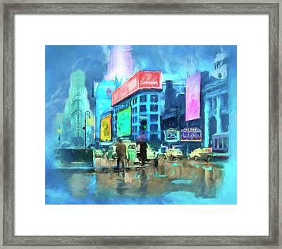 Rainy Night In New York Framed Print