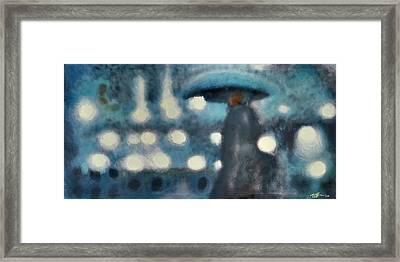 Rainy Night In Paris Framed Print by Steve Park