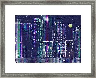 Rainy Night In The City Framed Print by Arline Wagner