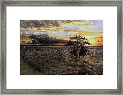 Rainy Sunset Framed Print by Judy Vincent