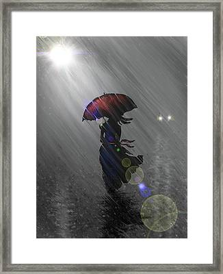 Rainy Walk Framed Print