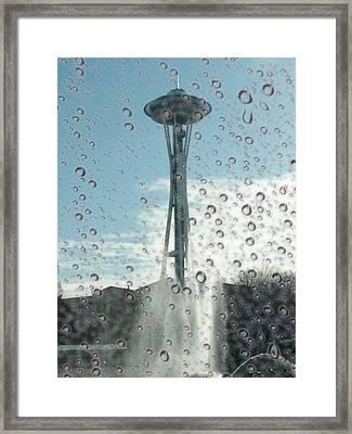 Rainy Window Needle Framed Print by Tim Allen