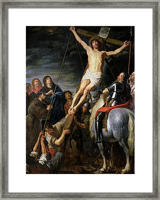 Raising The Cross Framed Print