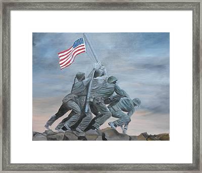 Raising The Flag At Iwo Jima Framed Print