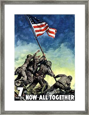 Raising The Flag On Iwo Jima Framed Print