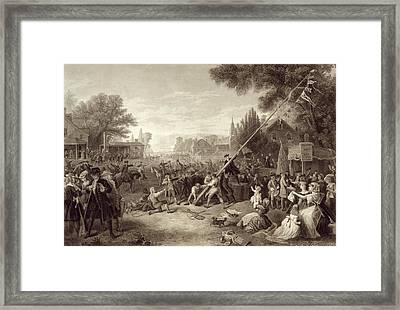 Raising The Liberty Pole 1776. An Framed Print by Vintage Design Pics