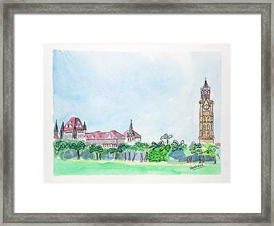 Rajabai Clock Tower And Bombay High Court Framed Print