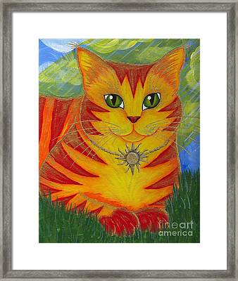 Framed Print featuring the painting Rajah Golden Sun Cat by Carrie Hawks