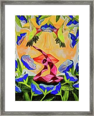 Rajakapotasana Framed Print by Dee Browning