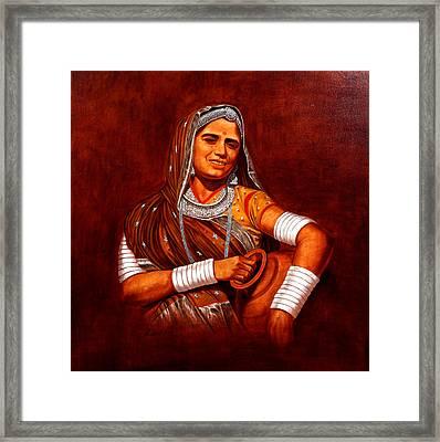 Rajasthani Lady Framed Print by Pawan