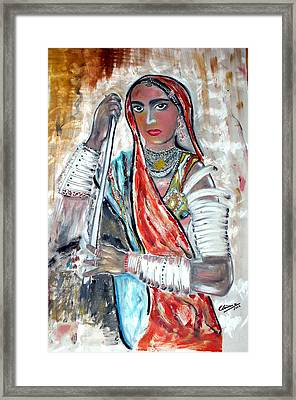 Rajasthani Woman Framed Print by Narayanan Ramachandran
