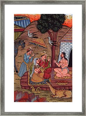 Rajput Royal King Vintage Art Miniature Forest Worship Painting Monk Watercolor Artwork India Framed Print by M B Sharma