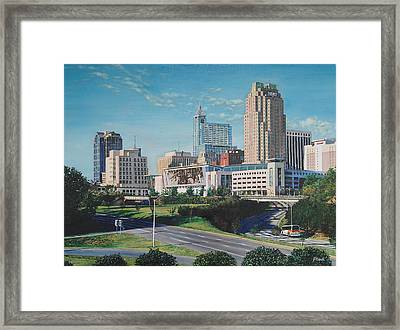 Raleigh Downtown Realistic Framed Print