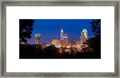 Raleigh Skyline Framed Print