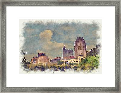 Raleigh Skyline Framed Print
