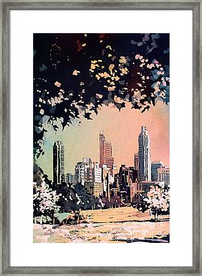 Framed Print featuring the painting Raleigh Skyline V by Ryan Fox
