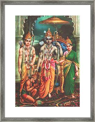 Ram Darbar Oil Painting Fine Artwork Framed Print by A K Mundra