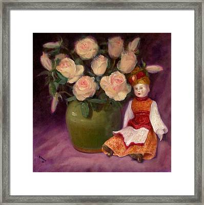 Framed Print featuring the painting Ramblin Rose by Donelli  DiMaria