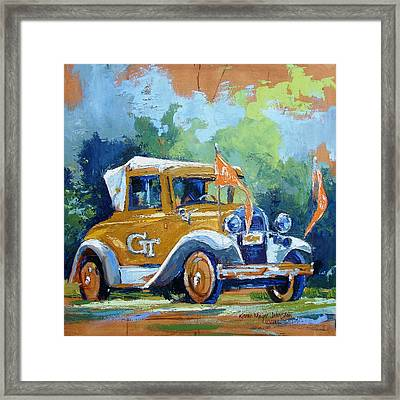 Ga Tech Ramblin' Wreck - Part Of College Series Framed Print