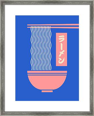 Ramen Japanese Food Noodle Bowl Chopsticks - Blue Framed Print