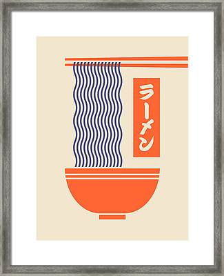 Ramen Japanese Food Noodle Bowl Chopsticks - Cream Framed Print