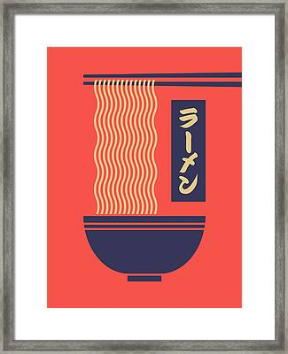 Ramen Japanese Food Noodle Bowl Chopsticks - Red Framed Print